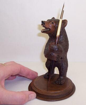Wonderful VINTAGE Antique CARVED WOODEN BEAR with QUILL DIP PEN Black Forest