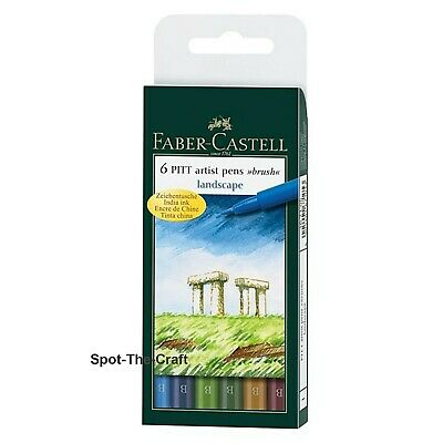 Faber-Castell Pitt Artist Pens Landscape India Ink Brush 6 In Set 167105