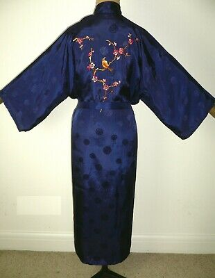 FAB VINTAGE CHINESE EMBROIDERED KIMONO ROBE DRESSING GOWN + Belt Birds & Blossom