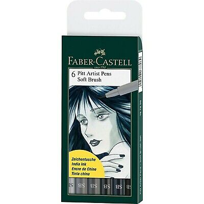 Faber-Castell Pitt Artist Pens Shades of Grey India Ink Soft Brush Set 1678Q6T