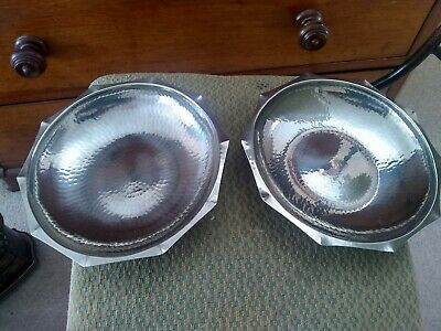 "2 x Vintage Borrowdale LRI Arts & Craft Hand beaten 9"" dia dish Stainless steel"