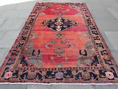 Old Worn Hand Made Traditional Persian Oriental Wool Pink Large Carpet 310x195cm