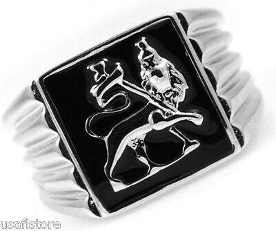 Mens Lion Of Judah Silver Stainless Steel Ring