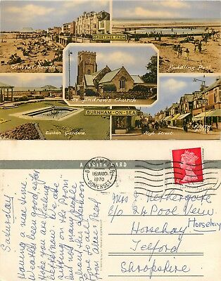 s07456 Burnham-on-Sea, Somerset, England postcard posted 1970 *COMBINED SHIPPING