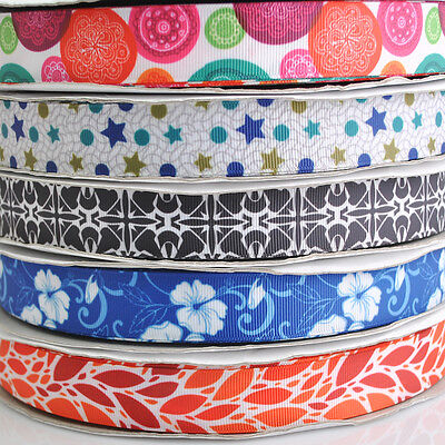 5Y Mix Color Printed Grosgrain Ribbon Craft Sewing Appliques Width 22mm RG059