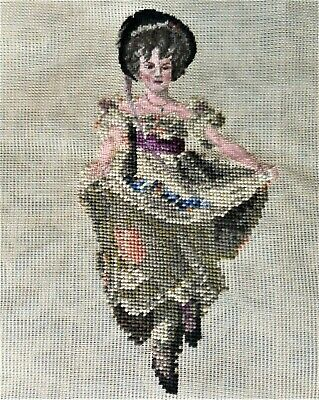 Victorian Girl Young Woman w/ Petit Point Vintage Preworked Needlepoint Canvas