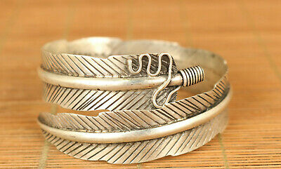 ethnic style Tibetan Silver miao yin Hand-Carved leaf statue Bracelet noble gift
