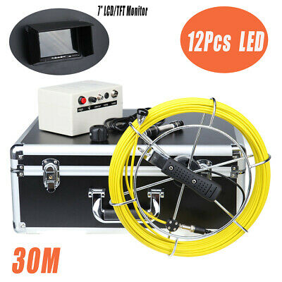 "30M Cable Pipe/Wall Pipeline Sewer Snake Inspection Camera w/ 7"" LCD Moniter DVR"