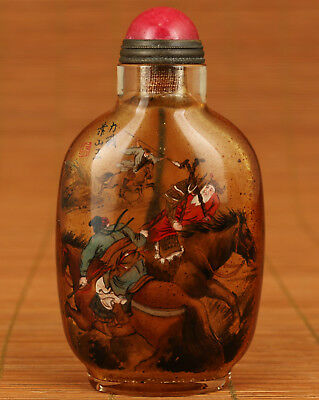 Rare Old Glass Hand inside painting Happeneth mountain king Statue Snuff bottle
