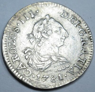 1781 XF-AU Spanish Silver 1/2 Reales Piece of 8 Real Colonial Era Treasure Coin