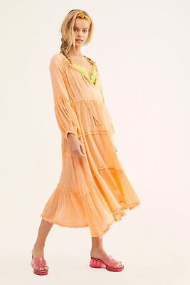 8ae2aeffef39d Anthropologie Free People In The Moment Boho Peasant Swing Midi Tiered Dress