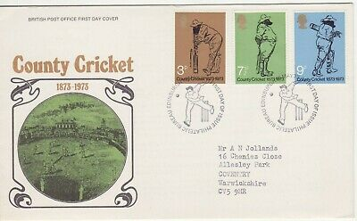 GB Stamps First Day Cover 100 Years of County Cricket, Lords SHS Bowler l1973