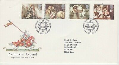 GB Stamps First Day Cover Arthurian Legends, Sword, Shield SHS Chalice/cup 1985