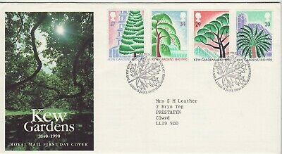 GB Stamps First Day Cover 150th Anniv. of Kew Botanical Gardens SHS Leaf 1990
