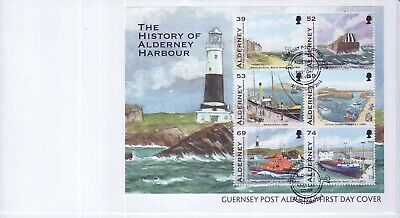 GB Stamps First Day Cover Alderney Harbour history as a MS SHS Mooring Ring 2012
