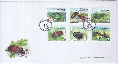 GB Stamps First Day Cover Alderney Beetles, bug, flower,wing etc SHS Insect 2013