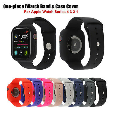 38/42/40/44mm  Silicone iWatch Band Strap & Case Cover For Apple Watch 6 5 4 SE
