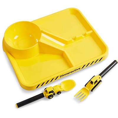 Dinneractive Dining Set for Kids – Construction Themed Meal Tray, Fork and Spoon