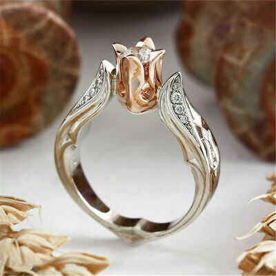 Exquisite Rose Gold Rose Floral 925 Silver Flower Ring Wedding Jewelry Size 5-10