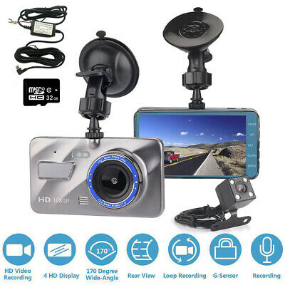 """4"""" 1080P Dash Cam Front and Rear Camera with 32GB Memory Card and Hard Wire Kit"""