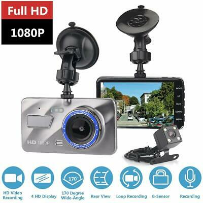 """4"""" 1080P Dual Lens Car Dash Cam Front and Rear Camera DVR Video Recorder UK Sell"""