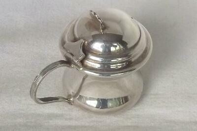 An Exquisite Solid Sterling Silver Mustard Pot With Glass Liner Birmingham 1923.