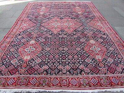 Old Worn Traditional Hand Made Persian Oriental Blue Wool Large Carpet 360x267cm