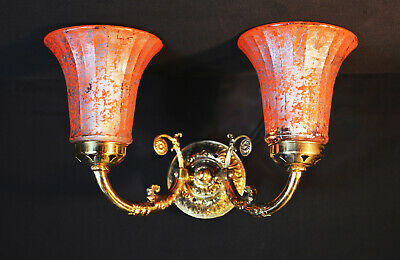 brass vintage antique twin wall light sconce French ribbed pigment glass shades