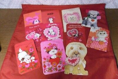 Lot of 11 Vtg Antique Gibson Valentine's Day Cards Aunt, Uncle, Spouse Unused
