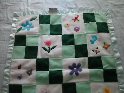 "Floral Green Quilt Girls/Baby/Toddler 33""x42"" Handmade Fleece, WhiteTaffeta Back"