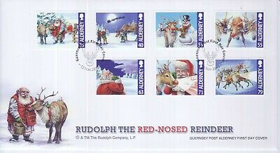 GB Stamps First Day Cover Alderney Xmas Rudolph, Santa, sleigh SHS Reindeer 2013