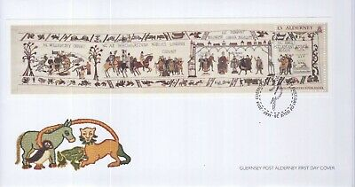 GB Stamps First Day Cover Alderney Bayeux Tapestry MS SHS Needle & Thread 2014