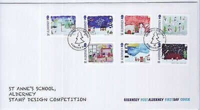GB Stamps First Day Cover Alderney Xmas Children's Paintings SHS Tree 2014