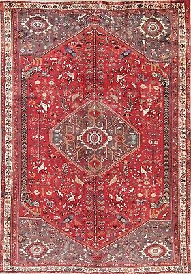 Rug Animal Pictorial Oriental Area Wool Hand Knotted Vintage Tribal 7X10