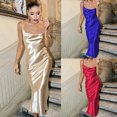Women Sexy Ladies Sling Satin Slip Dress Sleeveless Mini Sleeping-Backless