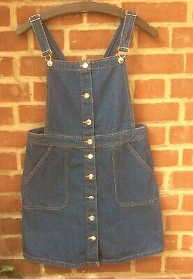 ccdbe60a69ab BNWT H&M DENIM pinafore dress embroidered flowers size 14, sold out ...