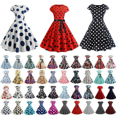 8372f2c52cff2 Womens Retro 50s 1960s Rockabilly Hepburn Style Pinup Swing Evening Party  Dress