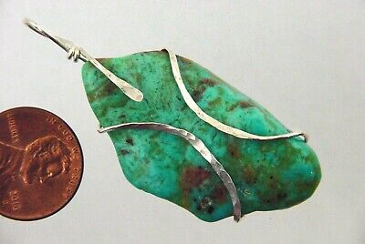 BUTW Hammered Sterling Silver Wire Wrapped Turquoise Pendant Necklace 9437P