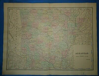 Vintage 1894 ARKANSAS MAP Old Antique Original Atlas Folio Size Map