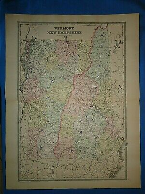 Vintage 1894 NEW HAMPSHIRE VERMONT MAP Old Antique Original Folio Size Atlas Map