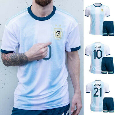Messi NO:10 Home Soccer Jersey Argentina 2019 America's Cup Football Outfit Suit
