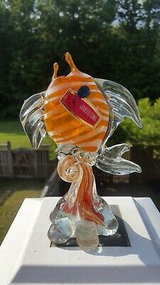 Gorgeous! Rare Vintage Mid Century Modern Murano Glass Fish Jiangsu China Orange