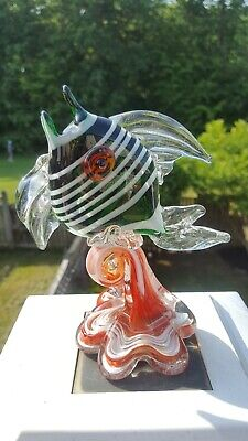Gorgeous! Rare Vintage Mid Century Modern Murano Glass Fish Jiangsu China Green