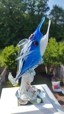 "Gorgeous! Rare Vintage Mid Century Modern Murano Glass Fish Jiangsu China 9""Blue"