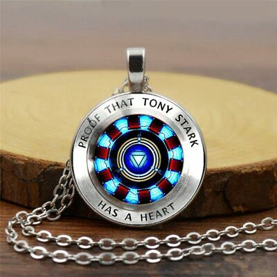New Marvel Iron Man Tony Stark Arc Reactor Necklace Glass Cabochon Pendant