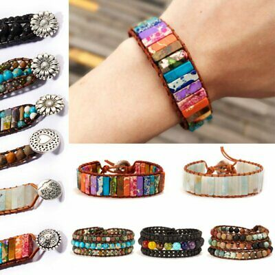 7 Chakra Bracelet Handmade Natural Stone Beads Leather Wrap Creative Bangle Gift