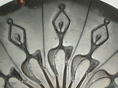 "Vintage 12"" Rubber Pewter Spin Casting Mold Dancing Silhouette Figure Pendant"