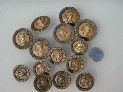 """Set of 14 Antique Victorian Minerva Glass Brass Buttons Two Sizes 1"""" and 1.5"""""""