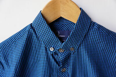 157389a66 FRED PERRY XS Shirt Slim Fit Blue Gingham Check Button-down Collar ...