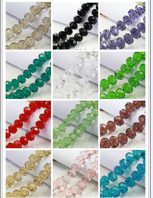 Wholesale Lot Crystal Glass Faceted Rondelle Loose Spacer Beads 4/6/8/10/12mm